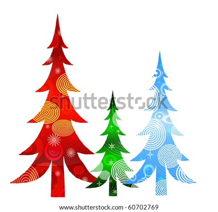 Retro Christmas Trees - stock photo