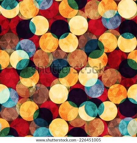 retro circle seamless texture with grunge effect (raster version) - stock photo