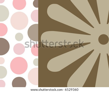 Retro circles and floral background