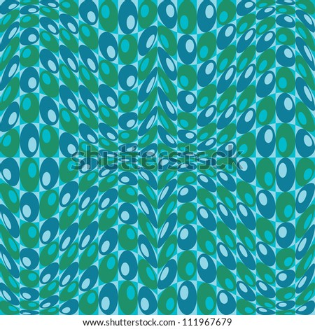 Retro Circles Pattern in blues and greens repeats seamlessly. - stock photo