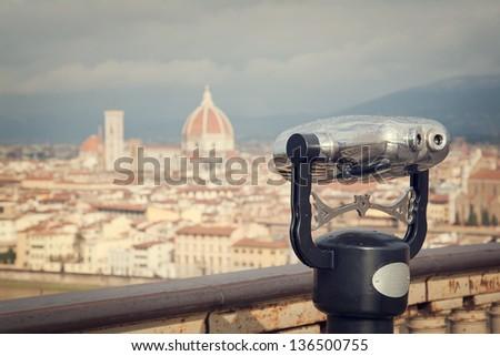 Retro cityscape of Florence, Italy - stock photo