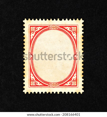 Retro classic red vine ornate border in the frame of a vintage postage stamp, with blank space for text. - stock photo