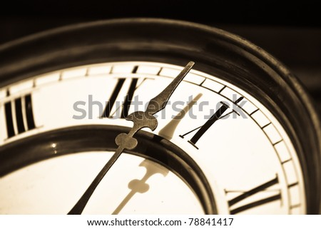 Retro clock pointer macro shoot - Vintage time background