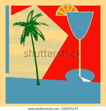 Retro Cocktail background for a 1950's style bar - stock photo