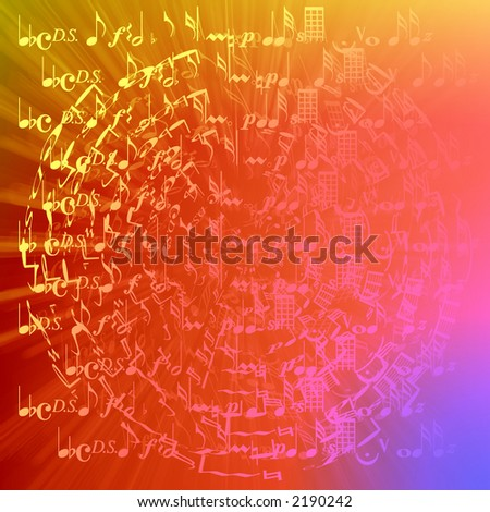 Retro colored musical note background. - stock photo
