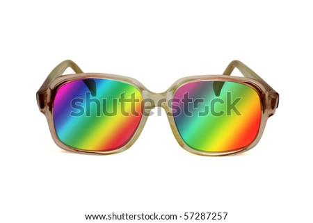 retro colored sunglasses ,isolated on white background - stock photo