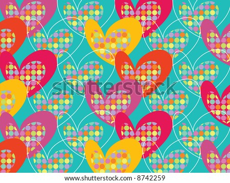 retro colorful pop dots hearts on turquoise (raster) - stock photo