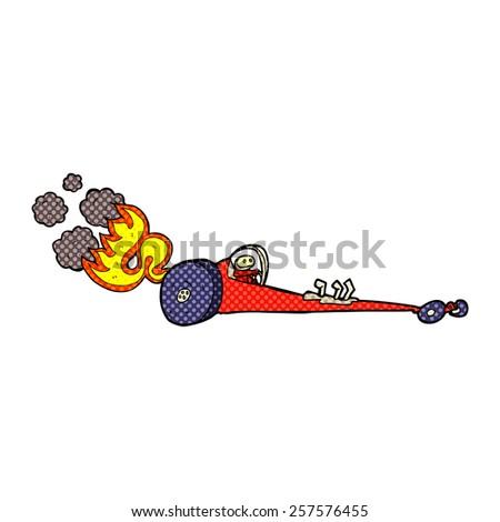 retro comic book style cartoon drag racer - stock photo