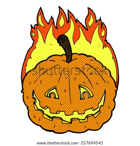 retro comic book style cartoon grinning pumpkin - stock photo