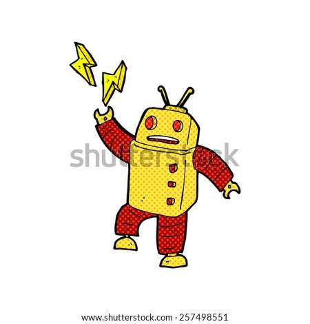 retro comic book style cartoon robot - stock photo