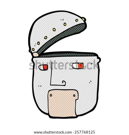 retro comic book style cartoon robot head - stock photo