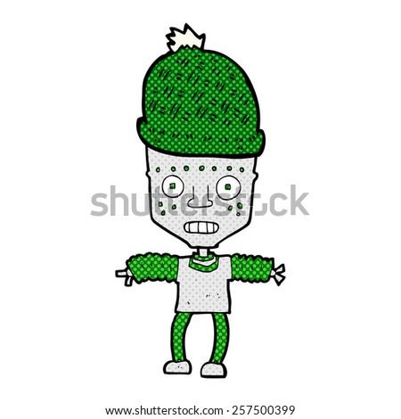 retro comic book style cartoon robot wearing hat - stock photo