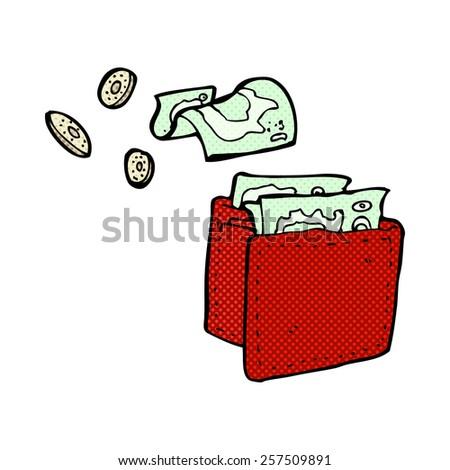 retro comic book style cartoon wallet spilling money - stock photo
