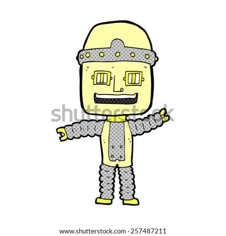 retro comic book style cartoon waving robot - stock photo
