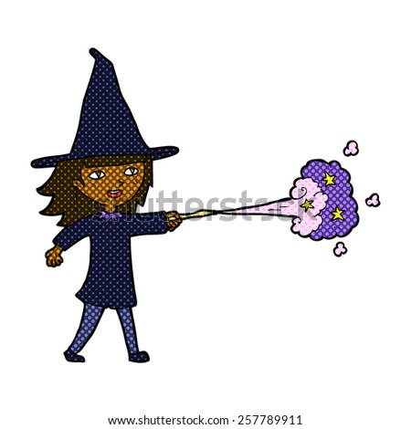 retro comic book style cartoon witch girl casting spell - stock photo