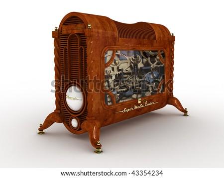 Retro computer on white background 3d - stock photo