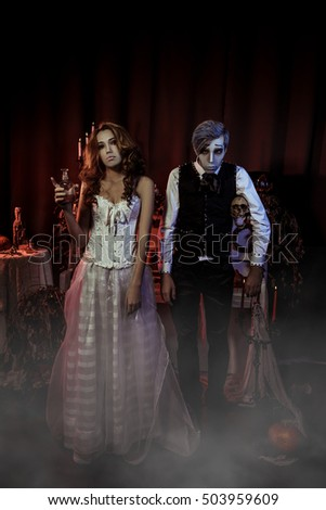 Retro couple dead bride and groom on Halloween night