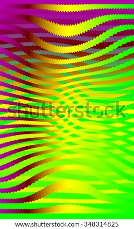 Retro 3D green purple waves.Abstract pattern. Bright colored background with realistic shadow and deep dimensional effect. - stock photo
