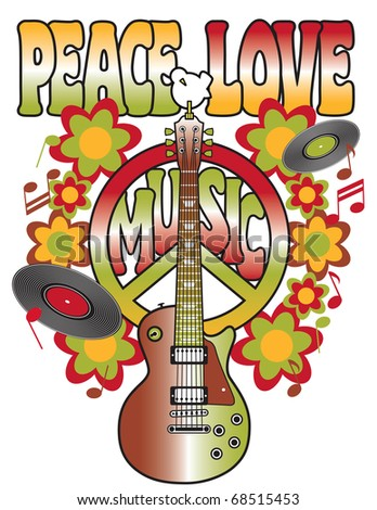 Retro design of a guitar, peace symbol and dove with the words Peace, Love and Music. Type style is my own creation. - stock photo