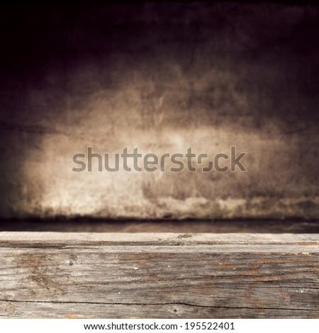 retro desk and wall  - stock photo