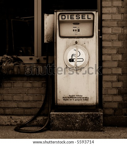 Retro diesel gas station - stock photo
