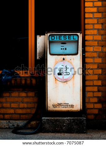 Retro diesel gas station. Environment conservation concept - stock photo