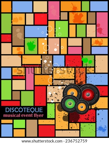 Retro disco club party flayer or poster. Ideal for musical event.