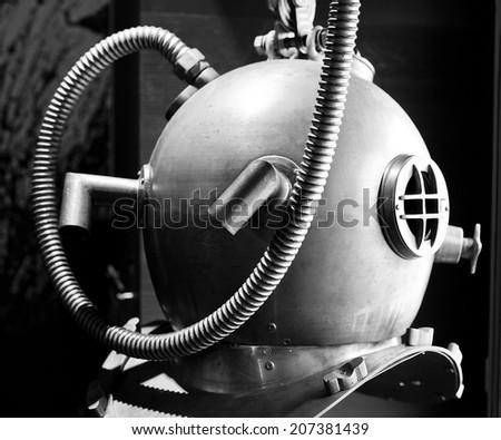 Retro diving helmet - stock photo
