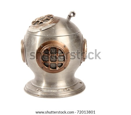 Retro Diving Helmet on White - stock photo