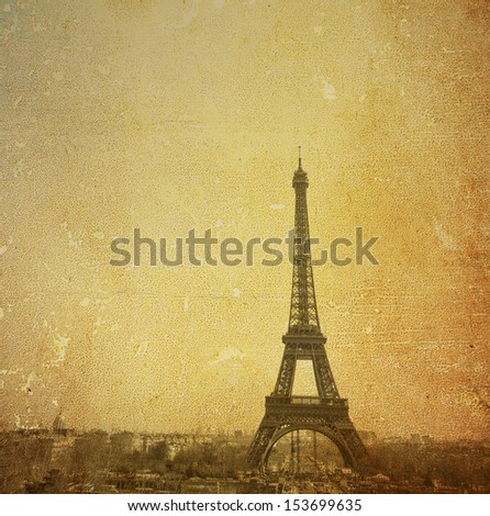 Retro Eiffel Tower (nickname La dame de fer, the iron lady),The tower has become the most prominent symbol of both Paris and France - stock photo