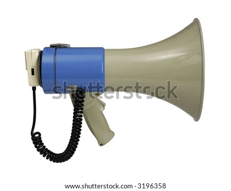 Retro electronic megaphone isolated on white with clipping path - clipping path is carefully hand-drawn - stock photo