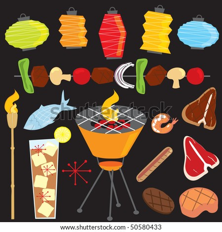 Retro Evening Barbeque Party - stock photo