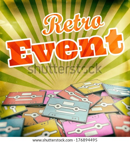 Retro event vintage poster design. Concept on old cassettes - stock photo
