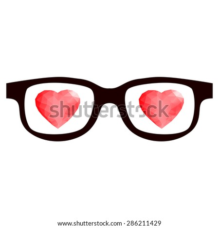 Retro eye glasses with shining red 3d polygon triangle geometric glossy red hearts.