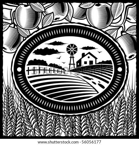 Retro farm black and white - stock photo