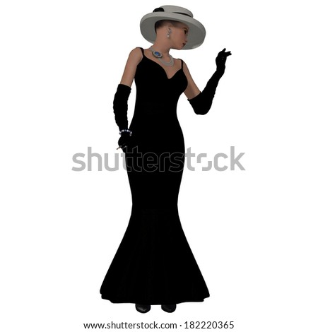 Retro Fashion Dress - A woman dressed in a black fashion dress and hat from the 1960s. - stock photo