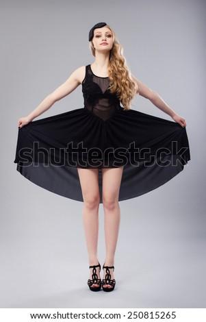 Retro Fashion Image. Beautiful Blonde Woman. - stock photo