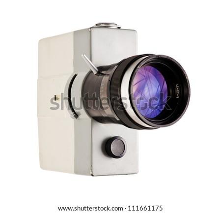 Retro film camera isolated on white - stock photo