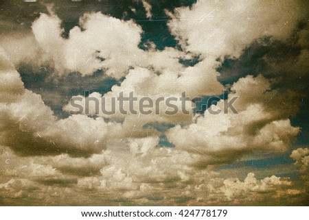 Retro film effect image of cloudy sky