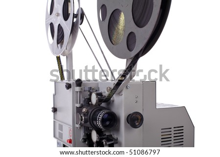 retro film projector isolated on white background - stock photo
