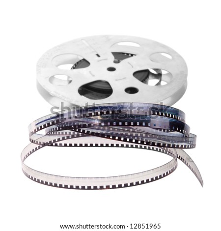 Retro film reel isolated on white background - stock photo