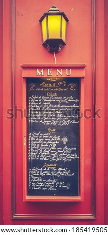 Retro Filtered Menu Board At A French Restaurant In Paris - stock photo