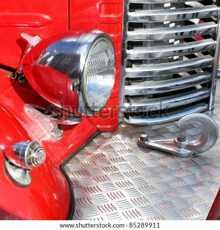 Retro fire truck fragment - stock photo