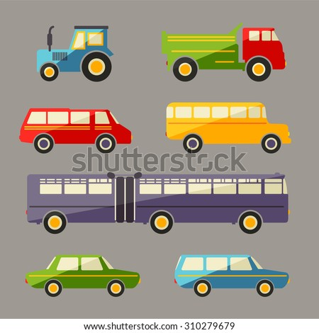 Retro flat car icons set