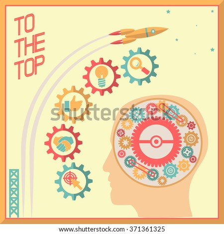 Retro Flat Design Businessman Head Thought Idea Generation Gear Wheel Icons Space Background Illustration - stock photo