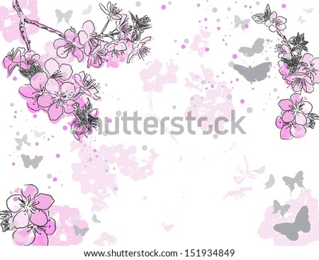 Retro floral background with a flower sakura. Raster version of vector illustration  - stock photo