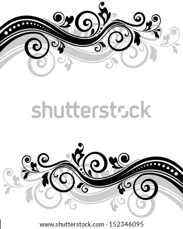 Retro floral banner. Raster copy - stock photo