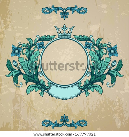 Retro floral cartouche. Hand drawn banner and ribbon  illustration with texture added.