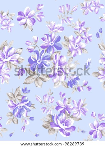 Retro floral seamless background - stock photo