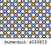 retro flower blue and brown plaid (raster) - stock photo
